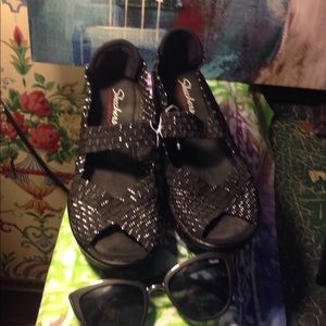 Black and silver wedge Skechers sandals  shoes 7 m
